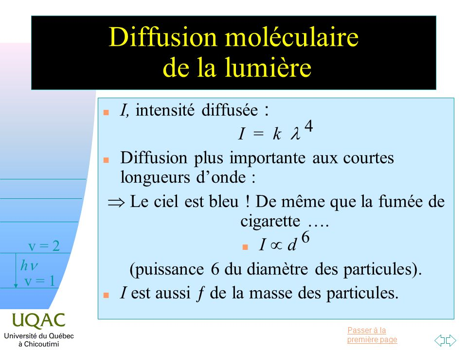 Passer à la première page v = 0 v = 1 v = 2 h Diffusion moléculaire de la lumière I, intensité diffusée : I = k 4 n Diffusion plus importante aux courtes longueurs donde : Le ciel est bleu .