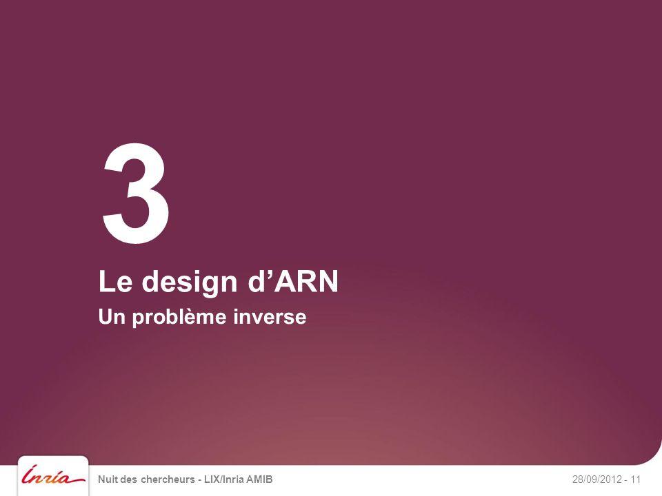 Le design dARN Un problème inverse Nuit des chercheurs - LIX/Inria AMIB28/09/2012- 11 3