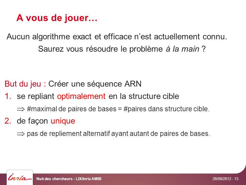 A vous de jouer… 28/09/2012 Nuit des chercheurs - LIX/Inria AMIB- 13 Aucun algorithme exact et efficace nest actuellement connu.