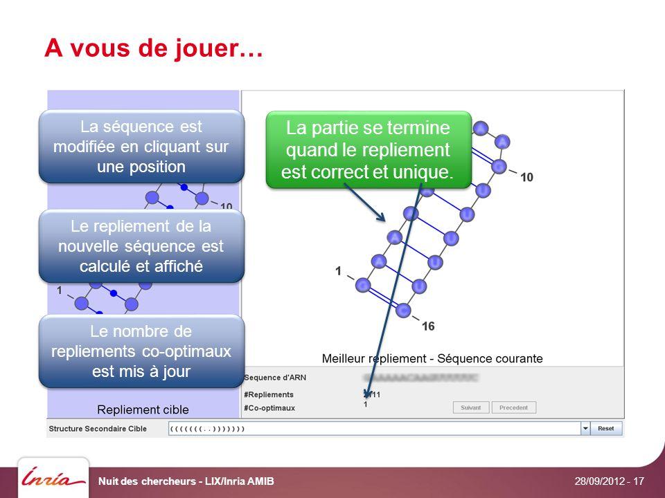 A vous de jouer… 28/09/2012 Nuit des chercheurs - LIX/Inria AMIB- 17 Le repliement de la nouvelle séquence est calculé et affiché Le nombre de repliements co-optimaux est mis à jour La séquence est modifiée en cliquant sur une position La partie se termine quand le repliement est correct et unique.