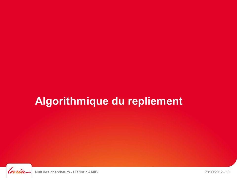 Algorithmique du repliement Nuit des chercheurs - LIX/Inria AMIB- 1928/09/2012