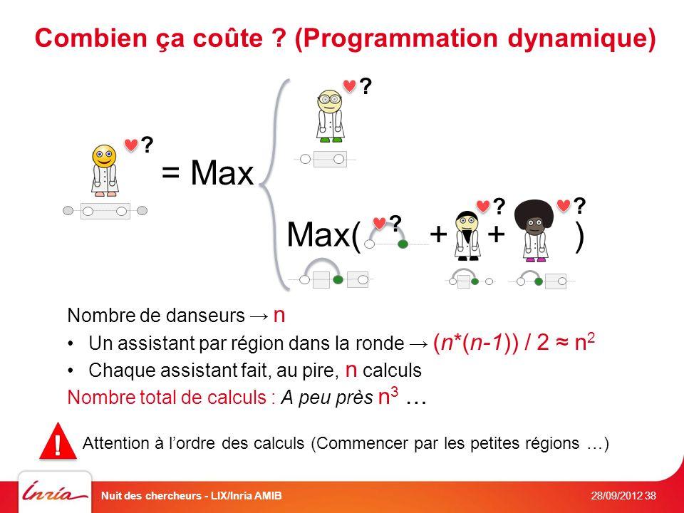Combien ça coûte . (Programmation dynamique) . Max( + + ) .