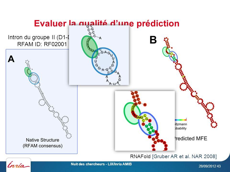 Evaluer la qualité dune prédiction 28/09/2012 Nuit des chercheurs - LIX/Inria AMIB 43 Intron du groupe II (D1-D4) RFAM ID: RF02001 RNAFold [Gruber AR et al.
