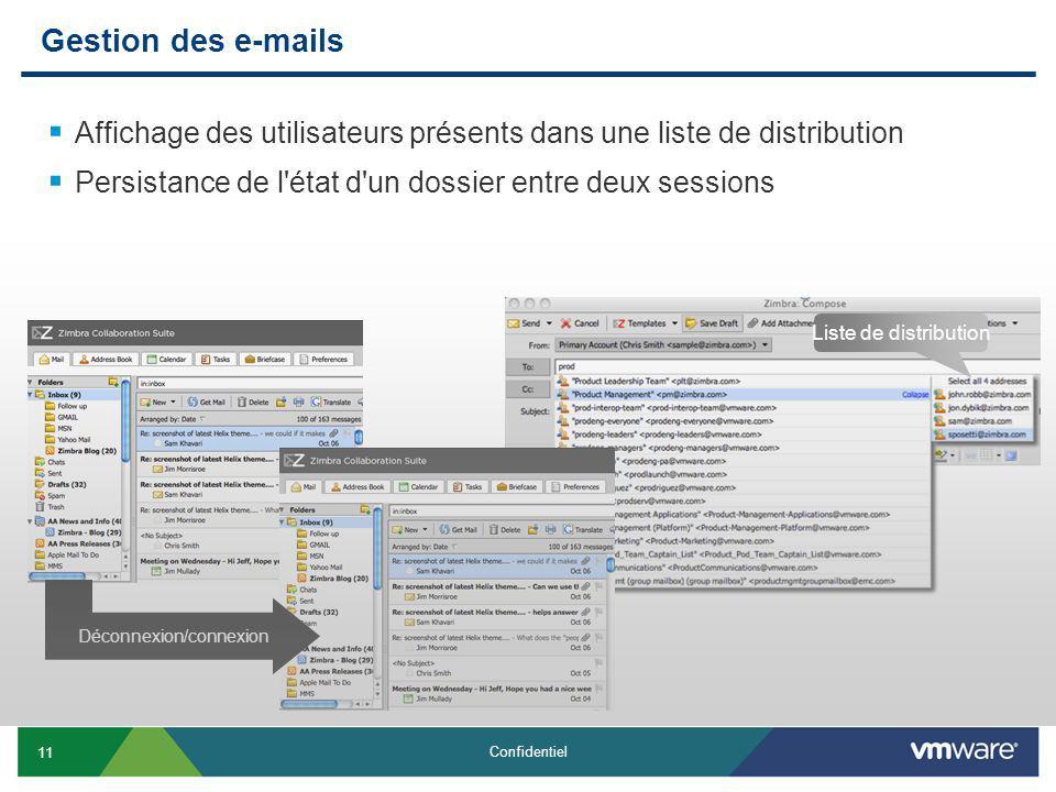 11 Confidentiel Gestion des e-mails Affichage des utilisateurs présents dans une liste de distribution Persistance de l état d un dossier entre deux sessions Liste de distribution Déconnexion/connexion
