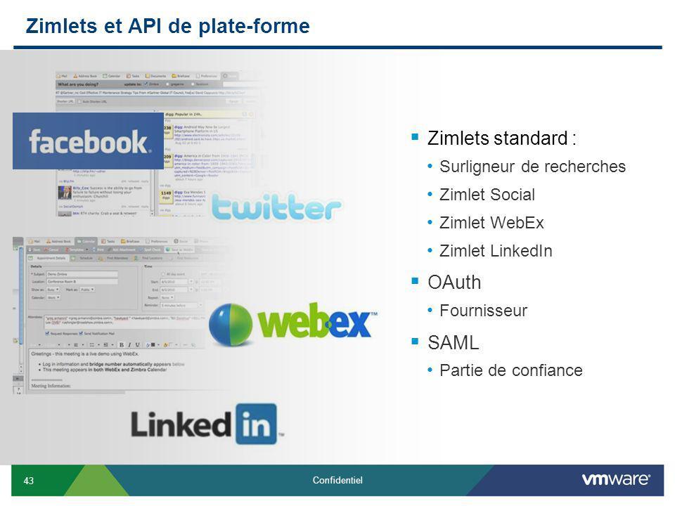 43 Confidentiel Zimlets et API de plate-forme Zimlets standard : Surligneur de recherches Zimlet Social Zimlet WebEx Zimlet LinkedIn OAuth Fournisseur SAML Partie de confiance