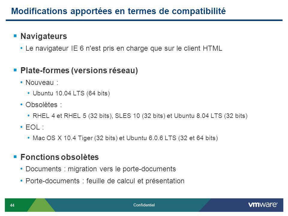 44 Confidentiel Modifications apportées en termes de compatibilité Navigateurs Le navigateur IE 6 n est pris en charge que sur le client HTML Plate-formes (versions réseau) Nouveau : Ubuntu 10.04 LTS (64 bits) Obsolètes : RHEL 4 et RHEL 5 (32 bits), SLES 10 (32 bits) et Ubuntu 8.04 LTS (32 bits) EOL : Mac OS X 10.4 Tiger (32 bits) et Ubuntu 6.0.6 LTS (32 et 64 bits) Fonctions obsolètes Documents : migration vers le porte-documents Porte-documents : feuille de calcul et présentation