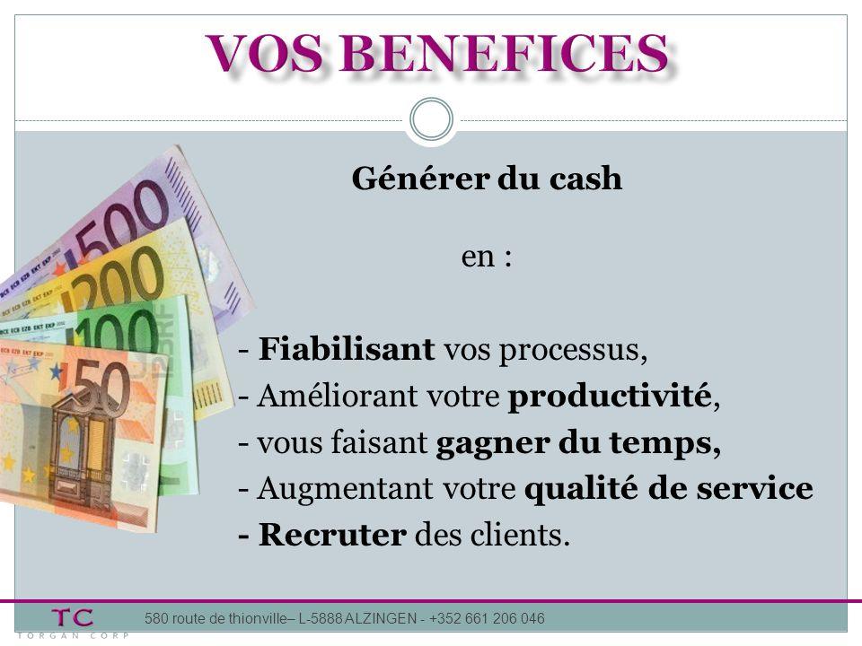 Générer du cash en : - Fiabilisant vos processus, - Améliorant votre productivité, - vous faisant gagner du temps, - Augmentant votre qualité de service - Recruter des clients.