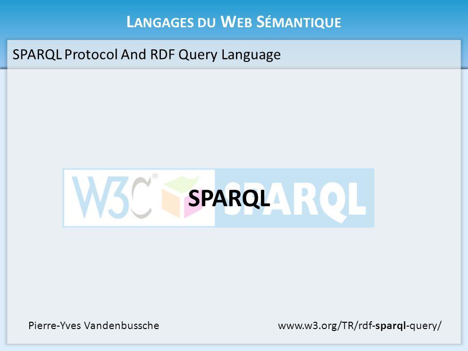 L ANGAGES DU W EB S ÉMANTIQUE SPARQL Protocol And RDF Query Language SPARQL www.w3.org/TR/rdf-sparql-query/Pierre-Yves Vandenbussche