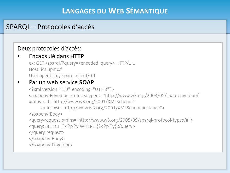 L ANGAGES DU W EB S ÉMANTIQUE SPARQL – Protocoles daccès Deux protocoles daccès: Encapsulé dans HTTP ex: GET /sparql/?query= HTTP/1.1 Host: ics.upmc.fr User-agent: my-sparql-client/0.1 Par un web service SOAP <soapenv:Envelope xmlns:soapenv= http://www.w3.org/2003/05/soap-envelope/ xmlns:xsd= http://www.w3.org/2001/XMLSchema xmlns:xsi= http://www.w3.org/2001/XMLSchemainstance > SELECT ?x ?p ?y WHERE {?x ?p ?y}