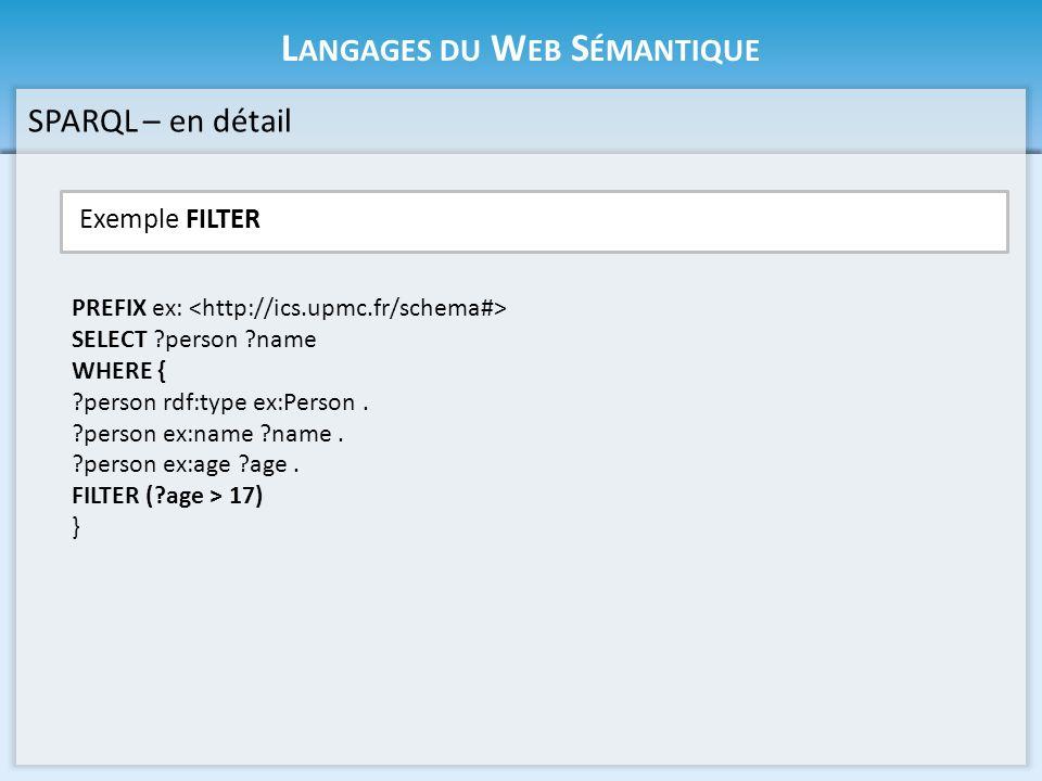 L ANGAGES DU W EB S ÉMANTIQUE Exemple OPTIONAL SPARQL – en détail PREFIX ex: SELECT ?person ?name ?age WHERE { ?person rdf:type ex:Person.
