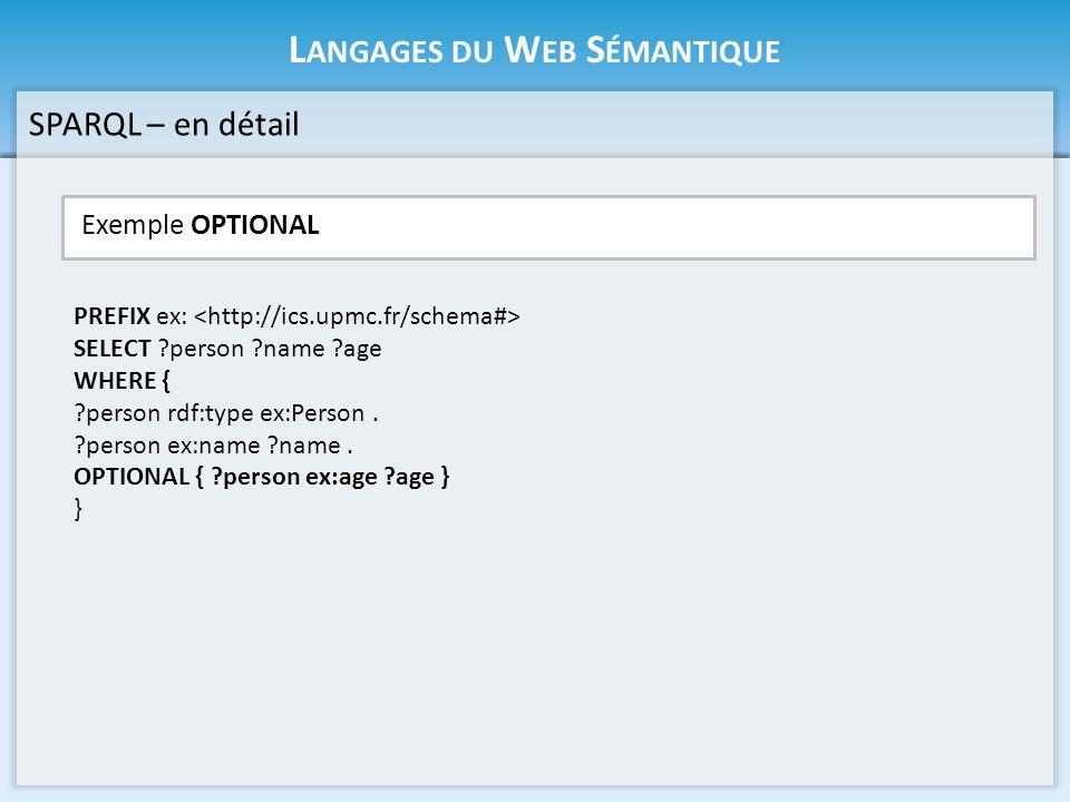 L ANGAGES DU W EB S ÉMANTIQUE Exemple UNION SPARQL – en détail PREFIX ex: SELECT ?name WHERE { ?person ex:name ?name.