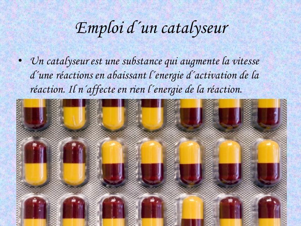 Emploi d´un catalyseur Un catalyseur est une substance qui augmente la vitesse d´une réactions en abaissant l´energie d´activation de la réaction. Il