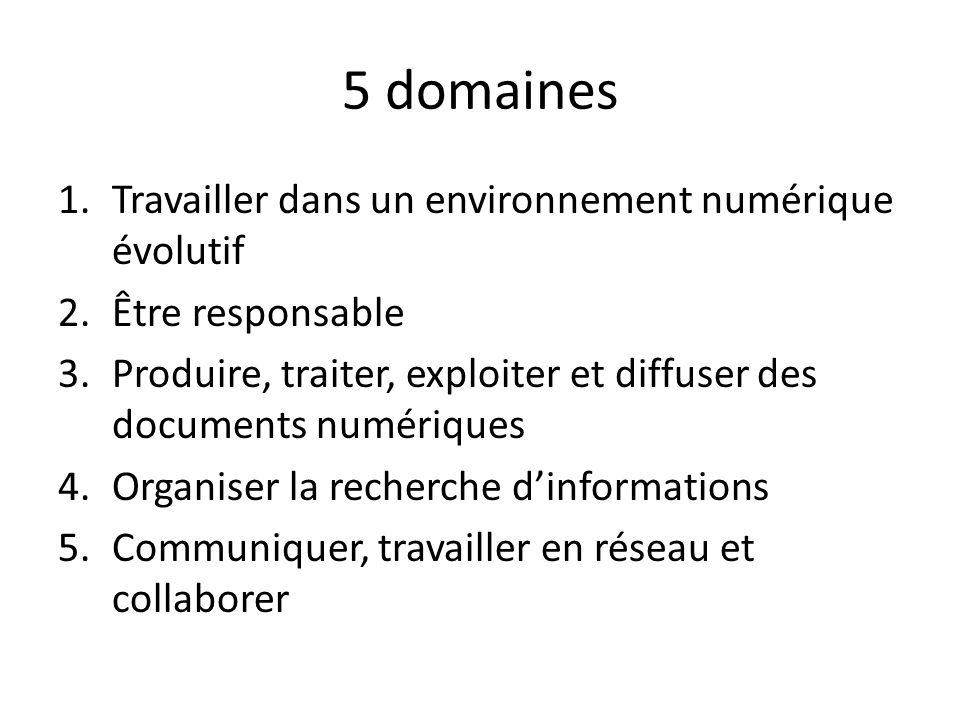 5 domaines 1.Travailler dans un environnement numérique évolutif 2.Être responsable 3.Produire, traiter, exploiter et diffuser des documents numériques 4.Organiser la recherche dinformations 5.Communiquer, travailler en réseau et collaborer