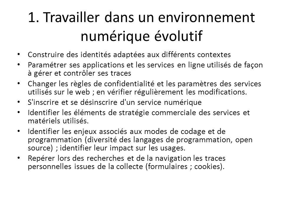 1. Travailler dans un environnement numérique évolutif Construire des identités adaptées aux différents contextes Paramétrer ses applications et les s