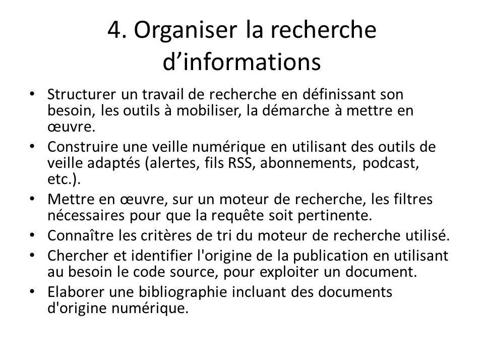 4. Organiser la recherche dinformations Structurer un travail de recherche en définissant son besoin, les outils à mobiliser, la démarche à mettre en