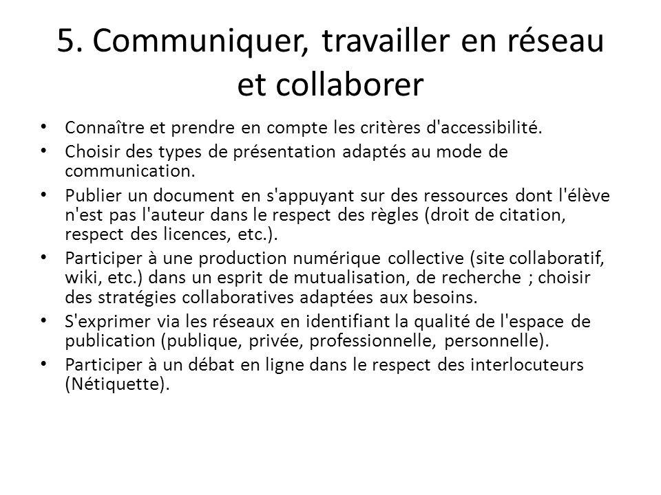 5. Communiquer, travailler en réseau et collaborer Connaître et prendre en compte les critères d'accessibilité. Choisir des types de présentation adap