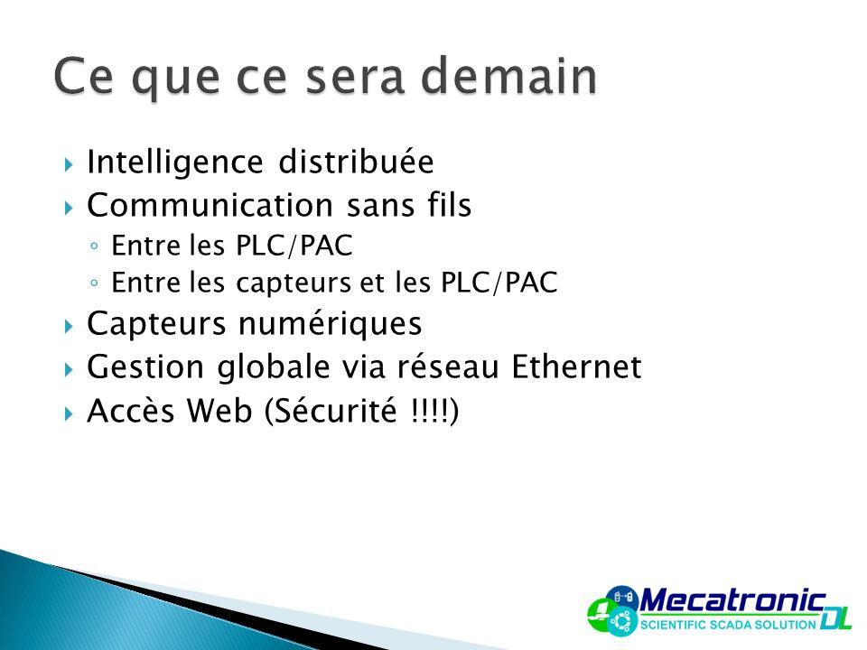 Intelligence distribuée Communication sans fils Entre les PLC/PAC Entre les capteurs et les PLC/PAC Capteurs numériques Gestion globale via réseau Eth