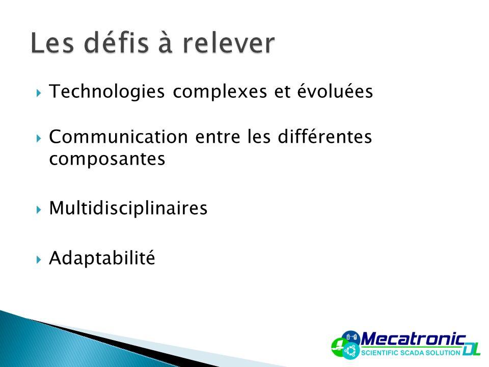 Technologies complexes et évoluées Communication entre les différentes composantes Multidisciplinaires Adaptabilité