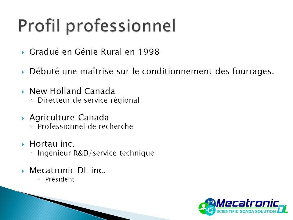 Gradué en Génie Rural en 1998 Débuté une maîtrise sur le conditionnement des fourrages. New Holland Canada Directeur de service régional Agriculture C