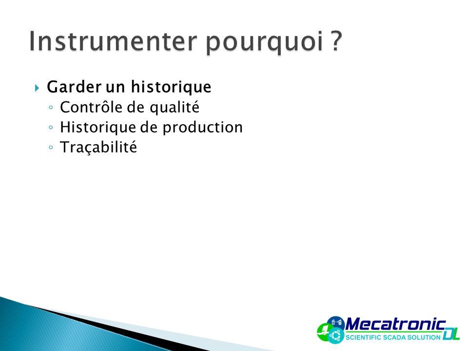 Garder un historique Contrôle de qualité Historique de production Traçabilité