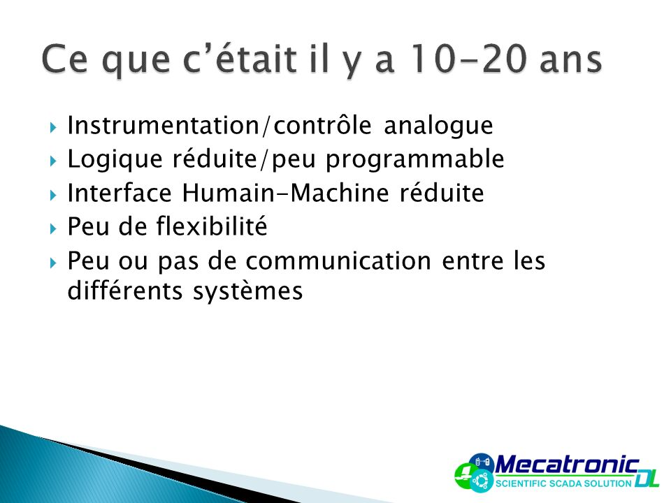 Instrumentation/contrôle analogue Logique réduite/peu programmable Interface Humain-Machine réduite Peu de flexibilité Peu ou pas de communication ent