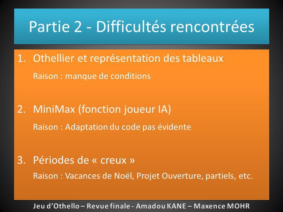Partie 2 - Difficultés rencontrées 1.Othellier et représentation des tableaux Raison : manque de conditions 2.MiniMax (fonction joueur IA) Raison : Ad