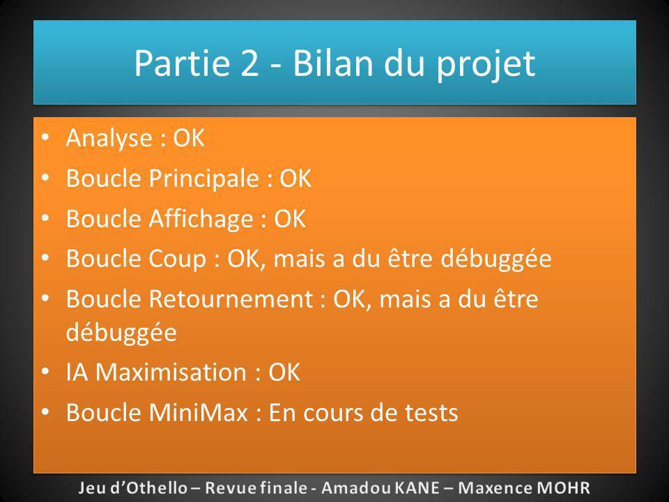 Partie 2 - Bilan du projet Analyse : OK Boucle Principale : OK Boucle Affichage : OK Boucle Coup : OK, mais a du être débuggée Boucle Retournement : O