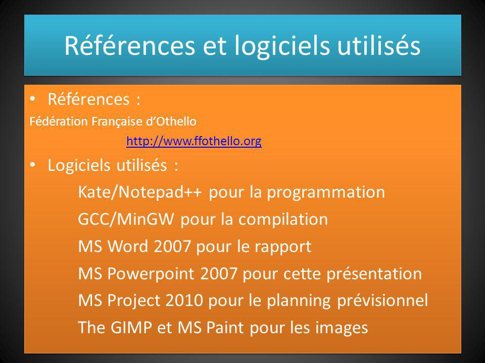Références et logiciels utilisés Références : Fédération Française dOthello http://www.ffothello.org Logiciels utilisés : Kate/Notepad++ pour la progr