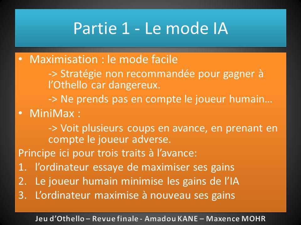Partie 1 - Le mode IA Maximisation : le mode facile -> Stratégie non recommandée pour gagner à lOthello car dangereux. -> Ne prends pas en compte le j