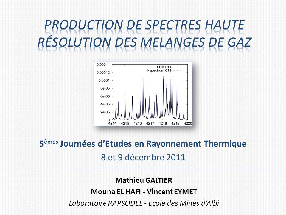 5 èmes Journées dEtudes en Rayonnement Thermique 8 et 9 décembre 2011 Mathieu GALTIER Mouna EL HAFI - Vincent EYMET Laboratoire RAPSODEE - Ecole des Mines dAlbi