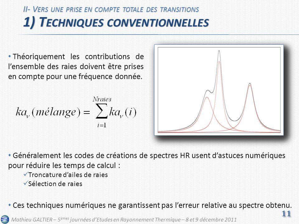 Généralement les codes de créations de spectres HR usent dastuces numériques pour réduire les temps de calcul : Troncature dailes de raies Sélection de raies Ces techniques numériques ne garantissent pas lerreur relative au spectre obtenu.