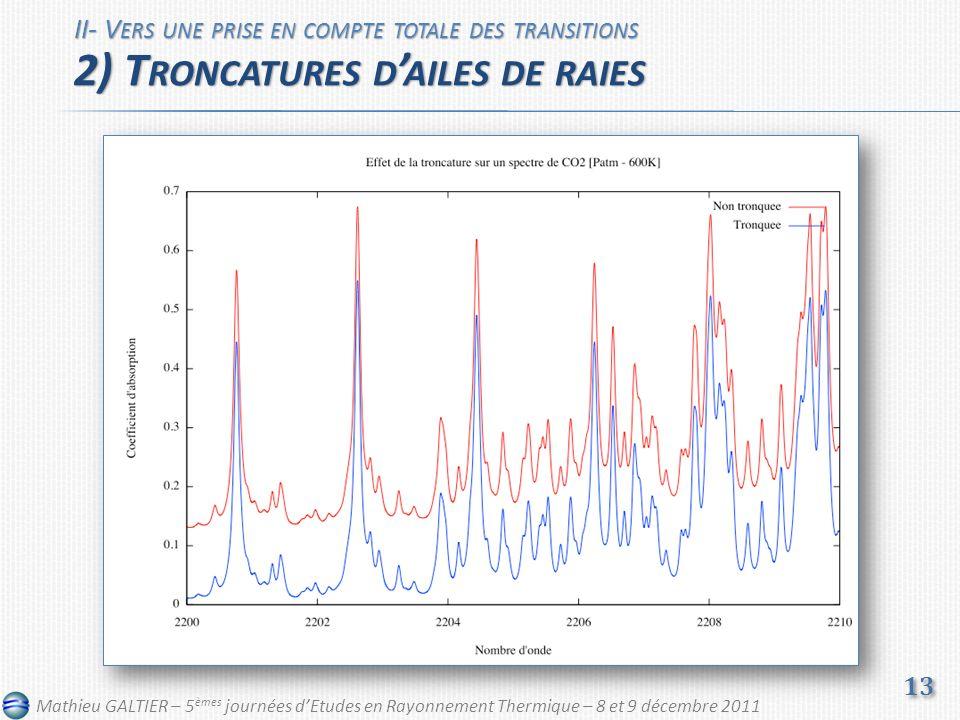 II- V ERS UNE PRISE EN COMPTE TOTALE DES TRANSITIONS 2) T RONCATURES D AILES DE RAIES 13 Mathieu GALTIER – 5 èmes journées dEtudes en Rayonnement Thermique – 8 et 9 décembre 2011