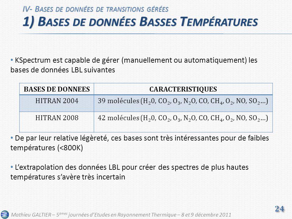 KSpectrum est capable de gérer (manuellement ou automatiquement) les bases de données LBL suivantes De par leur relative légèreté, ces bases sont très intéressantes pour de faibles températures (<800K) Lextrapolation des données LBL pour créer des spectres de plus hautes températures savère très incertain IV- B ASES DE DONNÉES DE TRANSITIONS GÉRÉES 1) B ASES DE DONNÉES B ASSES T EMPÉRATURES 24 BASES DE DONNEESCARACTERISTIQUES HITRAN 200439 molécules (H 2 0, CO 2, O 3, N 2 O, CO, CH 4, O 2, NO, SO 2 …) HITRAN 200842 molécules (H 2 0, CO 2, O 3, N 2 O, CO, CH 4, O 2, NO, SO 2 …) Mathieu GALTIER – 5 èmes journées dEtudes en Rayonnement Thermique – 8 et 9 décembre 2011