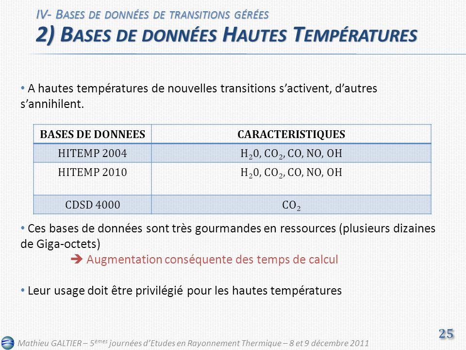 A hautes températures de nouvelles transitions sactivent, dautres sannihilent. Ces bases de données sont très gourmandes en ressources (plusieurs diza