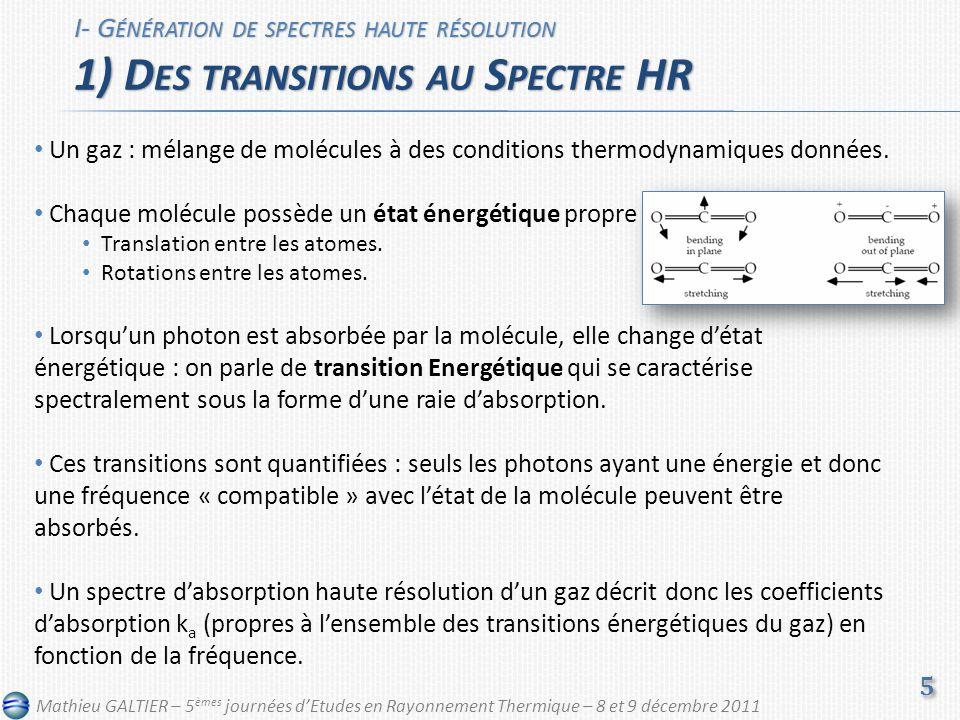 Un gaz : mélange de molécules à des conditions thermodynamiques données. Chaque molécule possède un état énergétique propre Translation entre les atom
