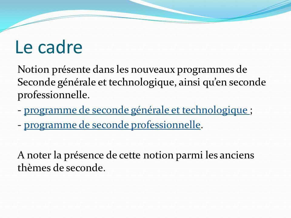 Le cadre Notion présente dans les nouveaux programmes de Seconde générale et technologique, ainsi quen seconde professionnelle. - programme de seconde