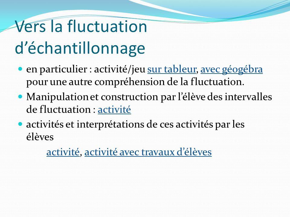 Vers la fluctuation déchantillonnage en particulier : activité/jeu sur tableur, avec géogébra pour une autre compréhension de la fluctuation.sur table