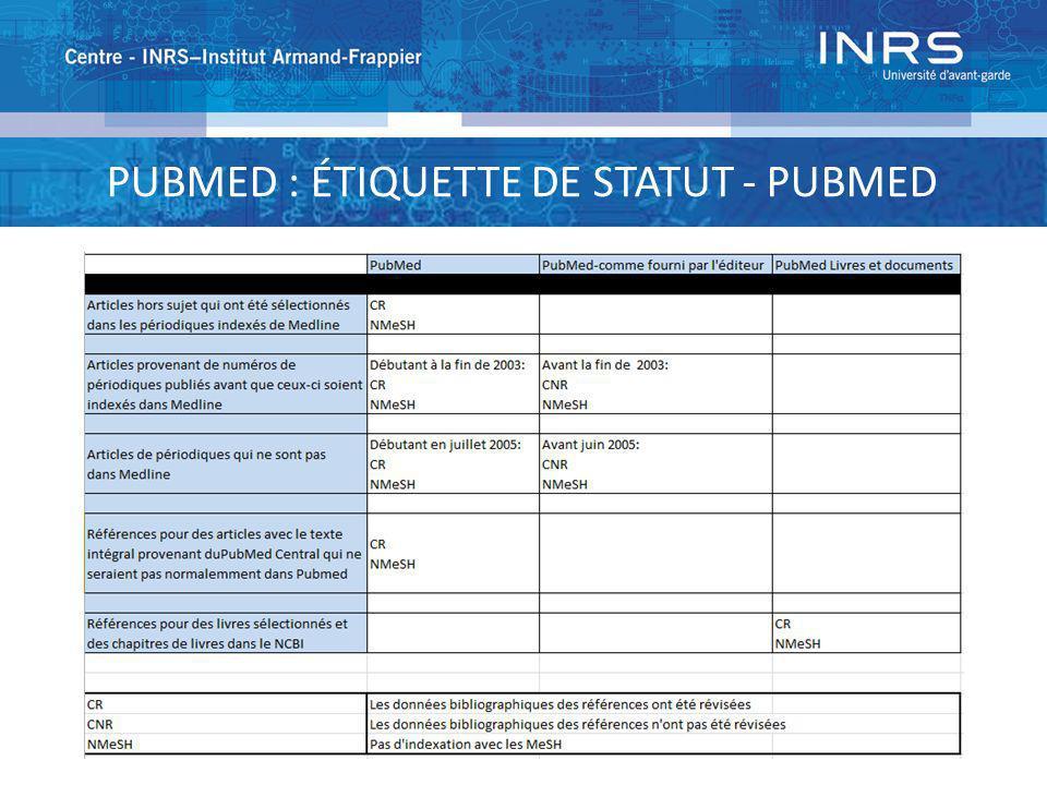 PUBMED : ÉTIQUETTE DE STATUT - PUBMED