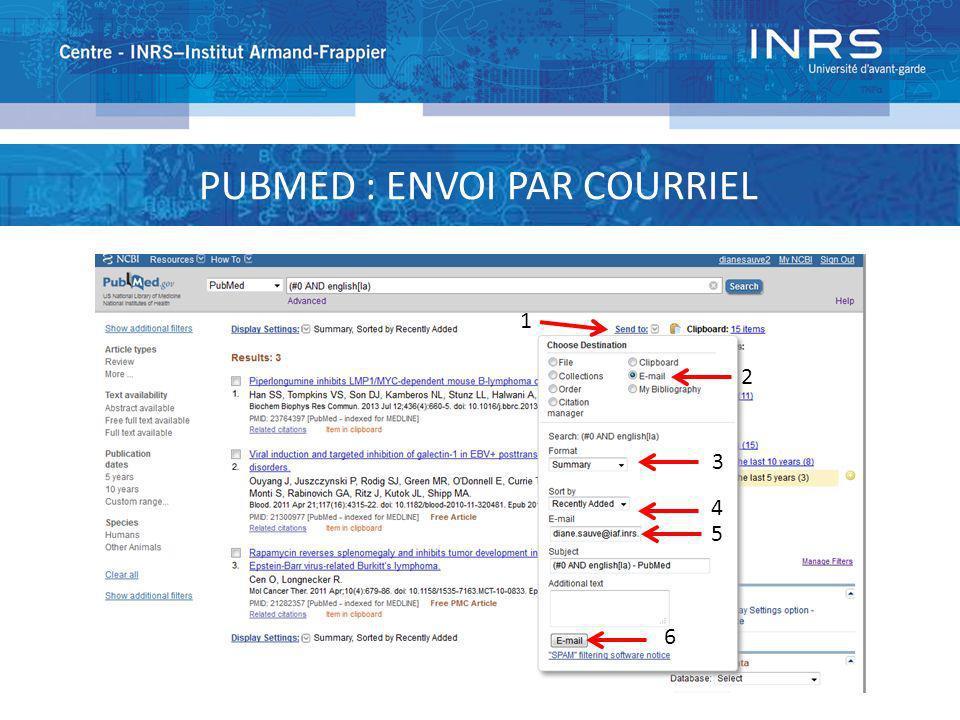 PUBMED : ENVOI PAR COURRIEL 1 2 3 4 5 6