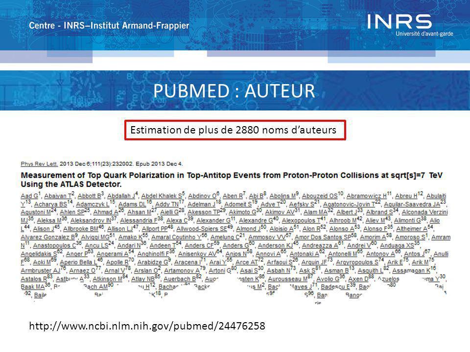 Estimation de plus de 2880 noms dauteurs http://www.ncbi.nlm.nih.gov/pubmed/24476258