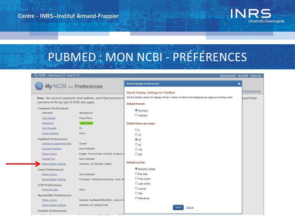 PUBMED : MON NCBI - SAUVEGARDE DE LA STRATÉGIE Envoie aux références Édite la stratégie