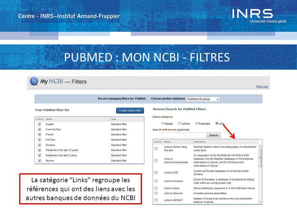 PUBMED : MON NCBI - FILTRES La catégorie Links regroupe les références qui ont des liens avec les autres banques de données du NCBI