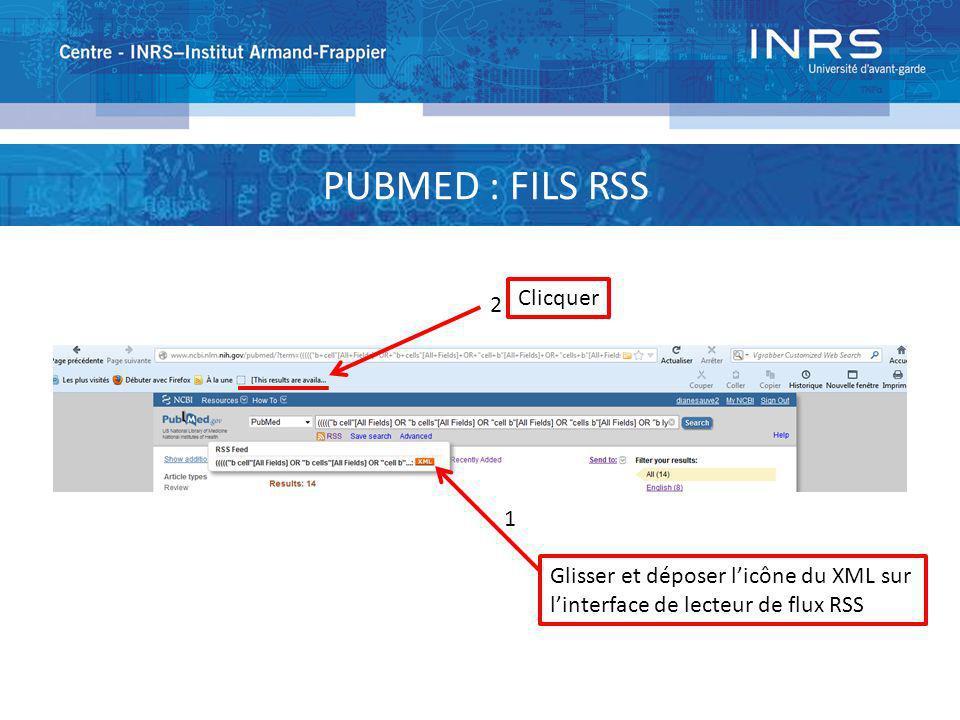 2 Glisser et déposer licône du XML sur linterface de lecteur de flux RSS 1 Clicquer