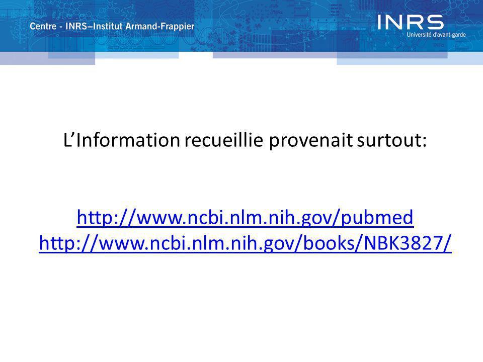 PUBMED :SIGN OUT LInformation recueillie provenait surtout: http://www.ncbi.nlm.nih.gov/pubmed http://www.ncbi.nlm.nih.gov/books/NBK3827/