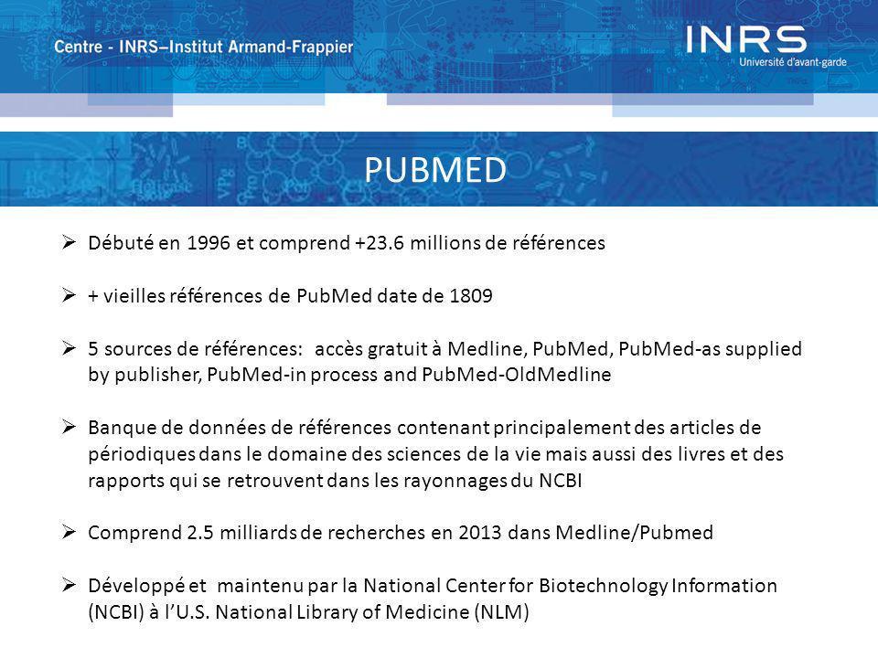 PUBMED Débuté en 1996 et comprend +23.6 millions de références + vieilles références de PubMed date de 1809 5 sources de références: accès gratuit à M