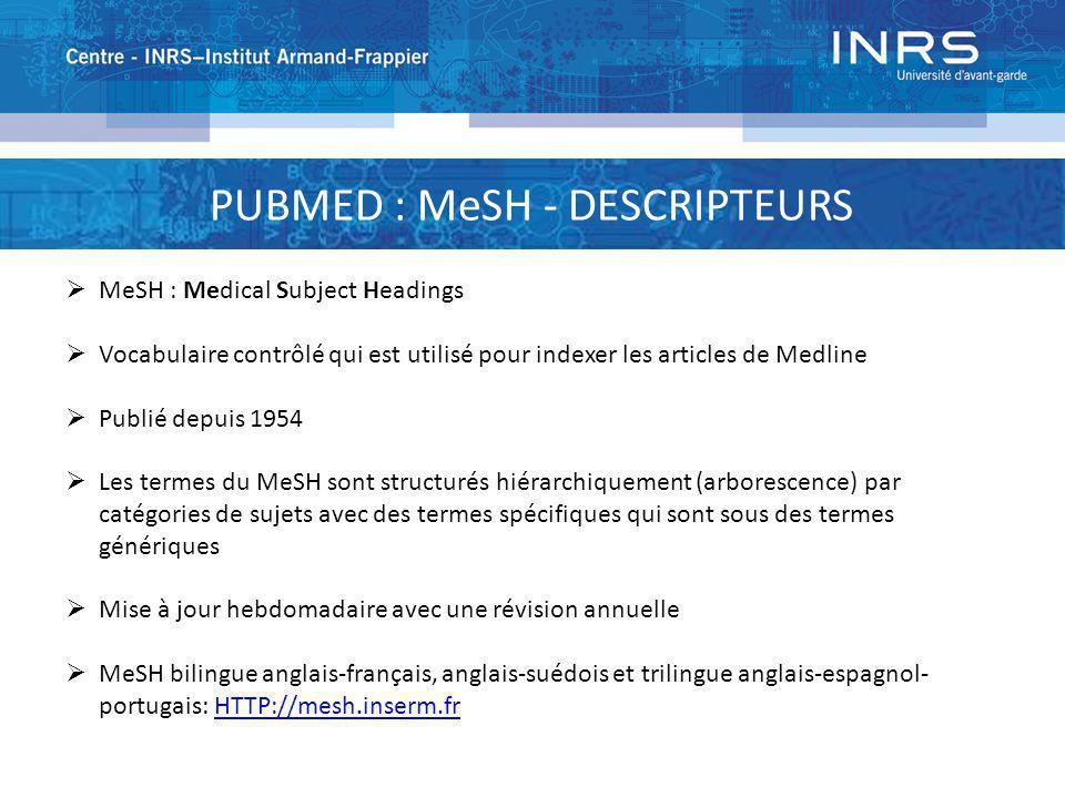 PUBMED : MeSH - DESCRIPTEURS MeSH : Medical Subject Headings Vocabulaire contrôlé qui est utilisé pour indexer les articles de Medline Publié depuis 1