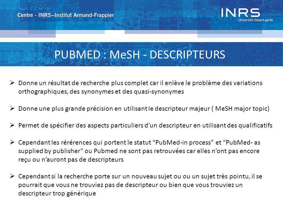 PUBMED : MeSH - DESCRIPTEURS Donne un résultat de recherche plus complet car il enlève le problème des variations orthographiques, des synonymes et de