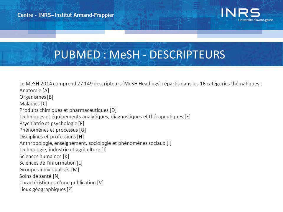 PUBMED : MeSH - DESCRIPTEURS Le MeSH 2014 comprend 27 149 descripteurs [MeSH Headings] répartis dans les 16 catégories thématiques : Anatomie [A] Orga
