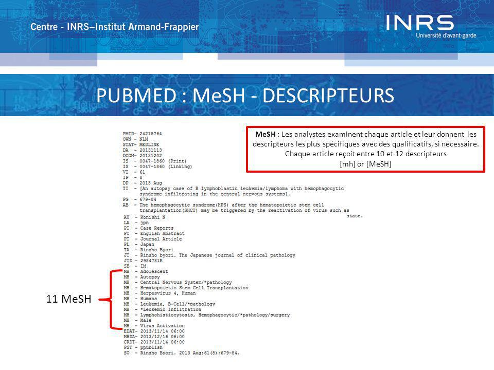 PUBMED : MeSH - DESCRIPTEURS 11 MeSH MeSH : Les analystes examinent chaque article et leur donnent les descripteurs les plus spécifiques avec des qual