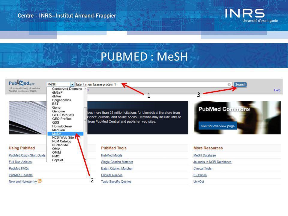PUBMED : MeSH 1 2 3